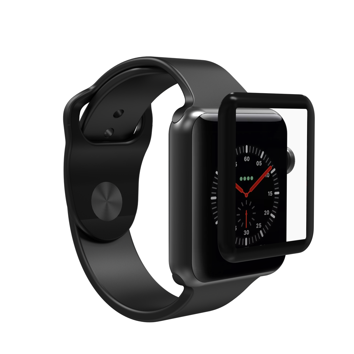 InvisibleShield Glass Curve Elite for the Apple Watch Series 3 38mm (Black)