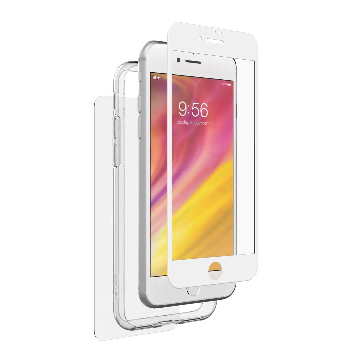 InvisibleShield Glass+ 360 with Bumper for the Apple iPhone 8 (White)