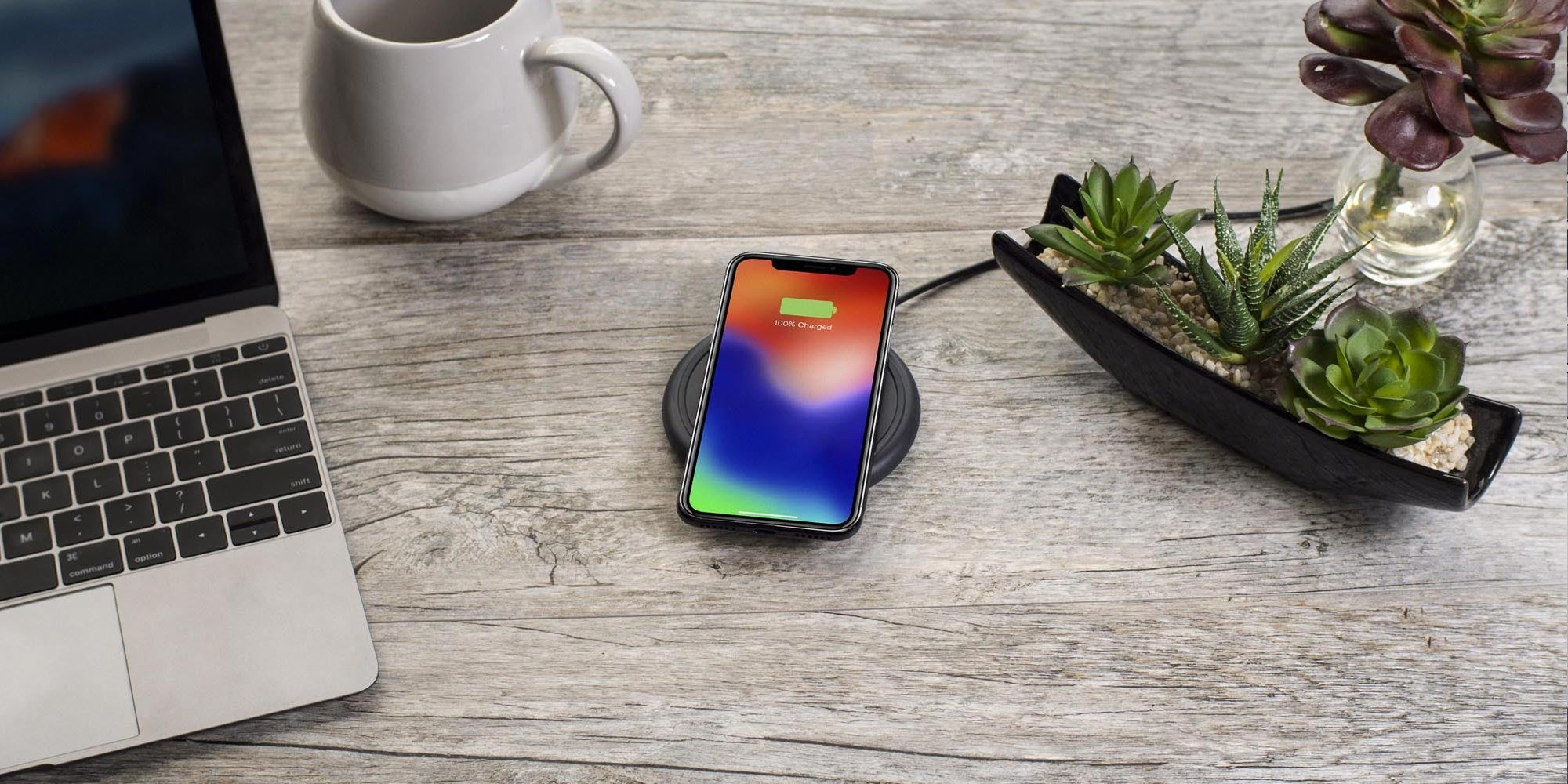 phone wirelessly charging on a mophie charging base