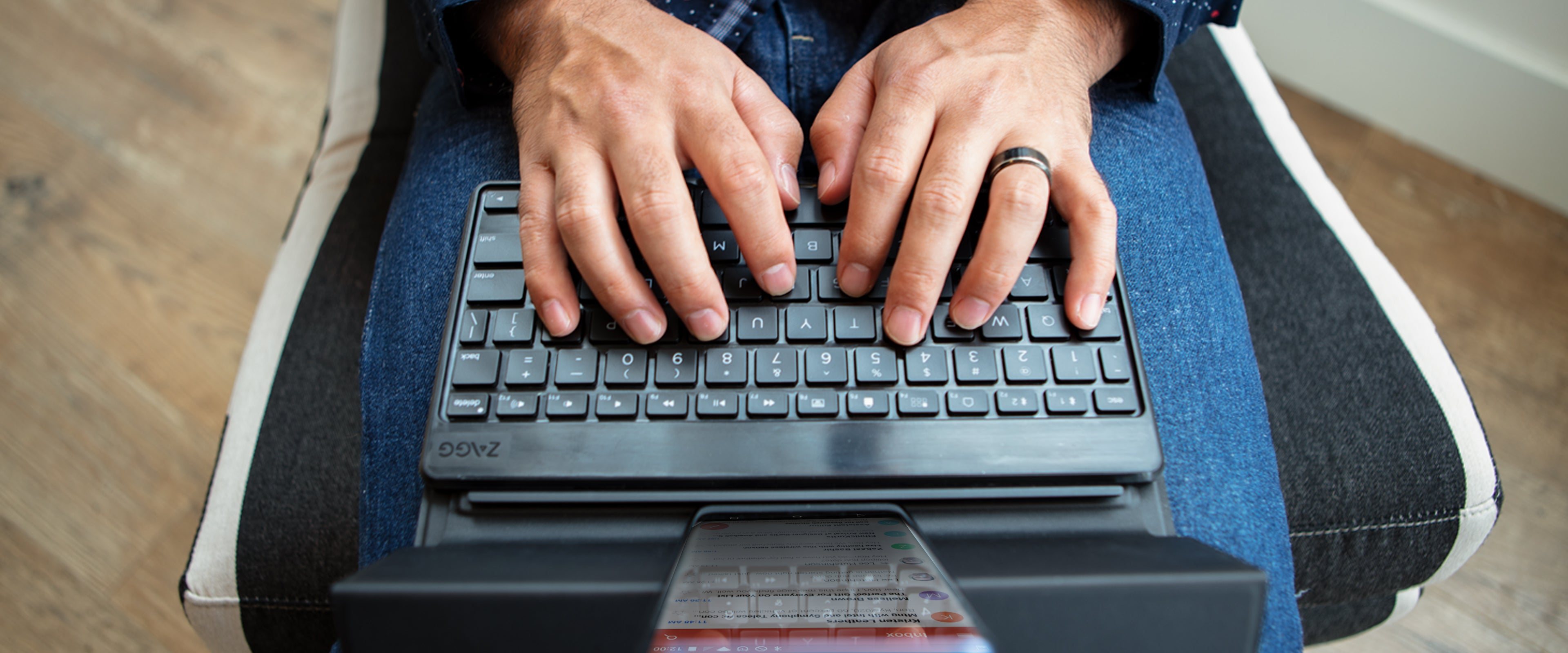 Man typing on a Flex Universal Keyboard