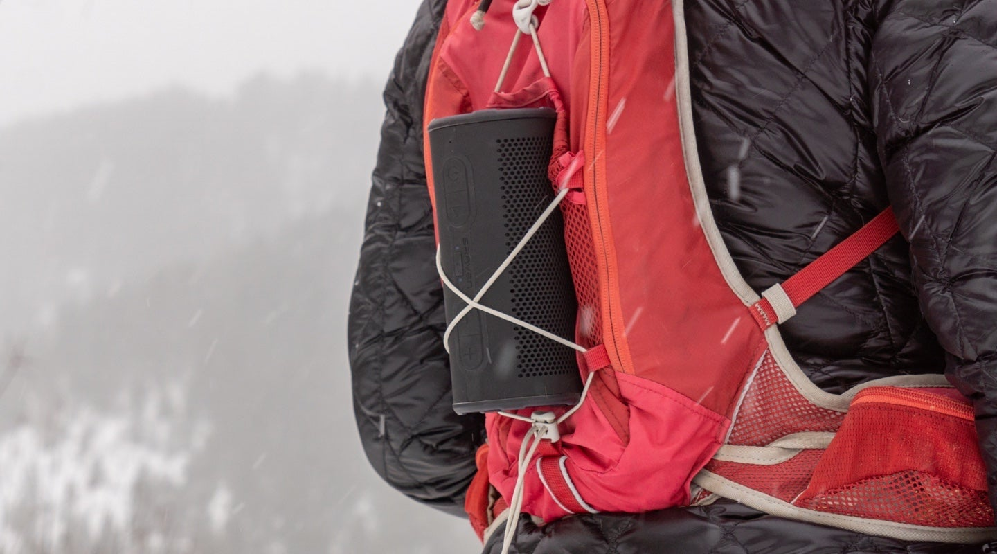 BRV-360 Speaker strapped to the back of a hiking day pack