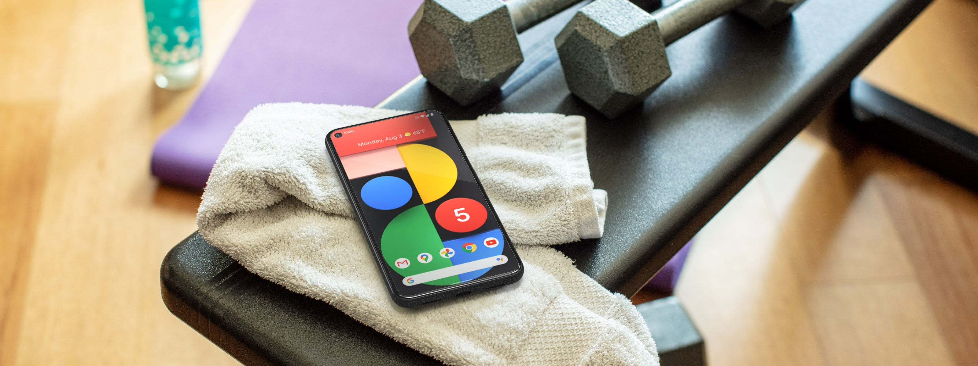 pixel 5 with workout equipment