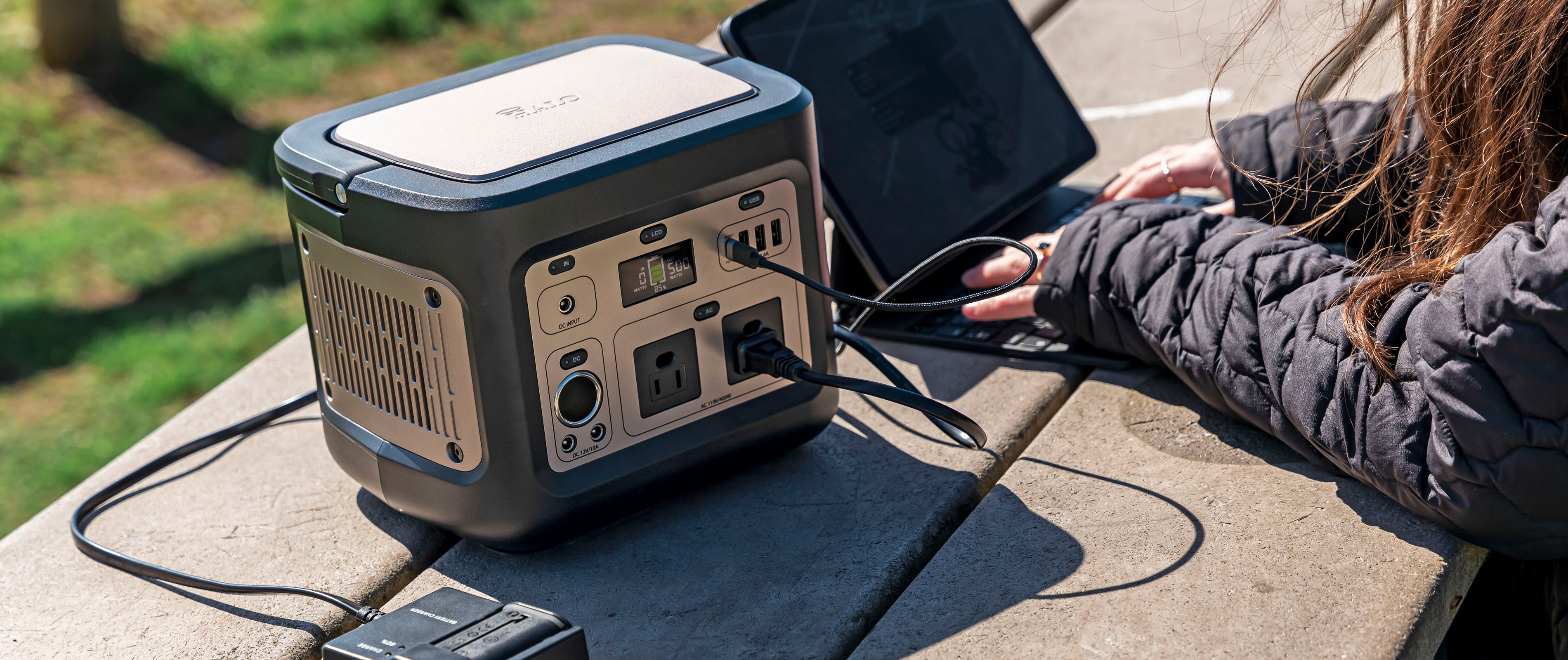 portable power station plugged in
