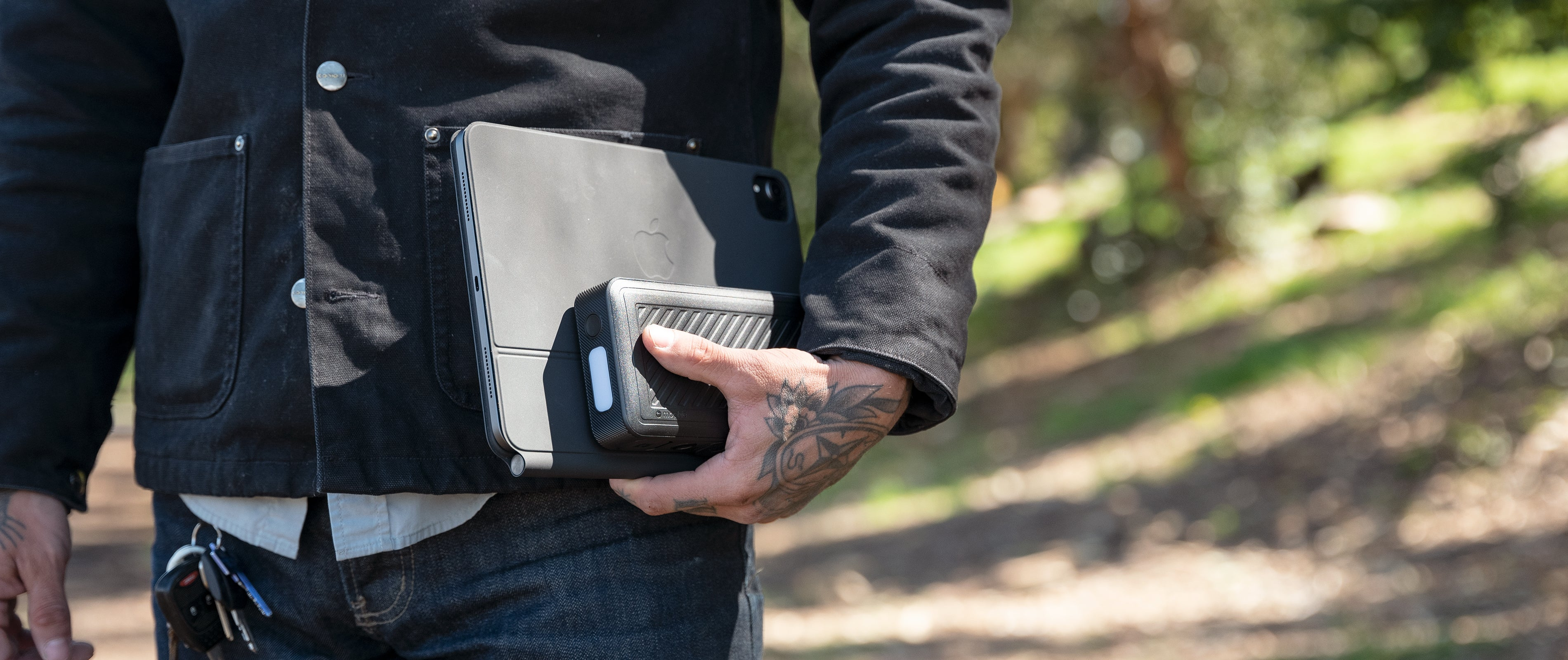 man holding powerstation go rugged compact