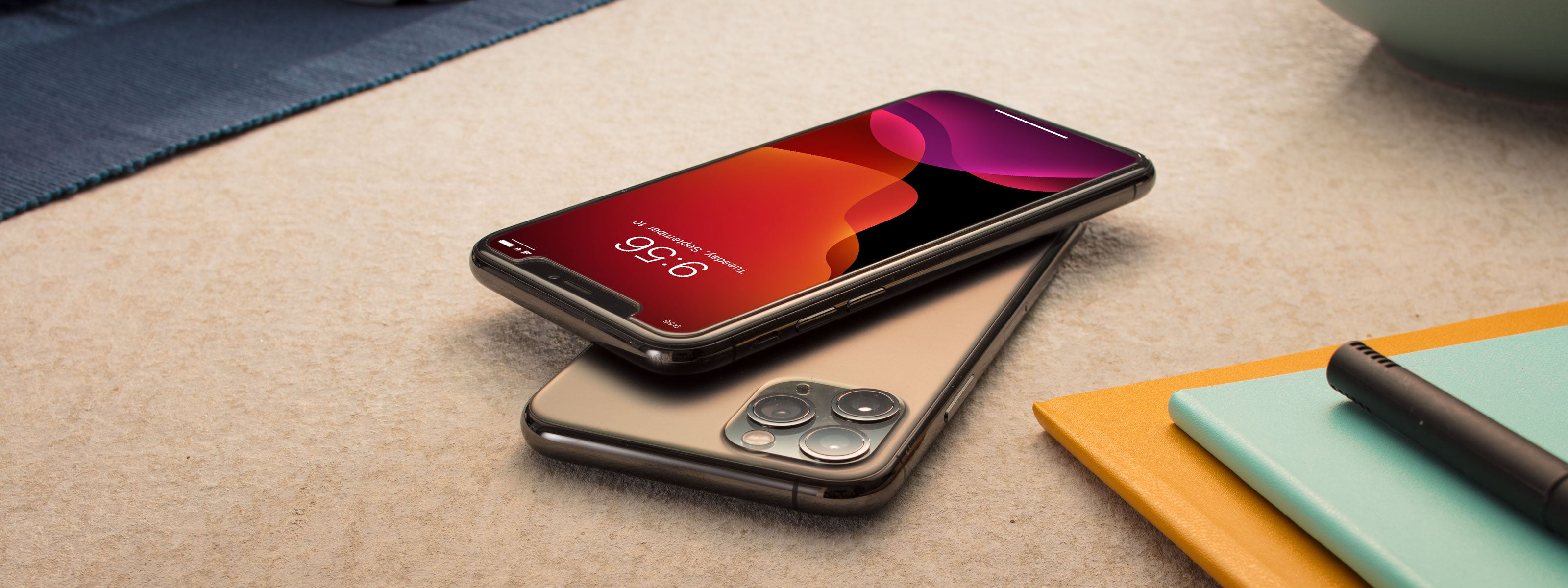 Two iphones lying on the table