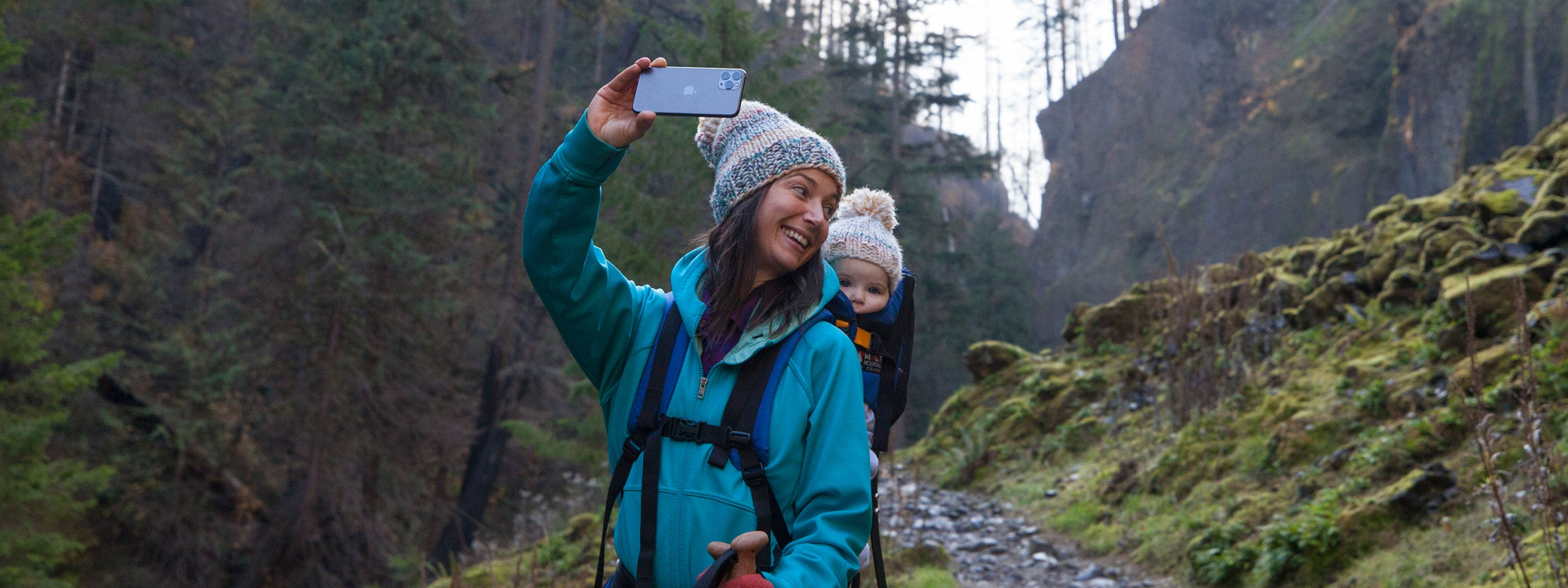Woman hiking with her baby