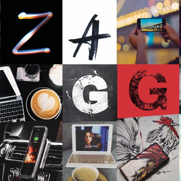 collage of zagg logo and images