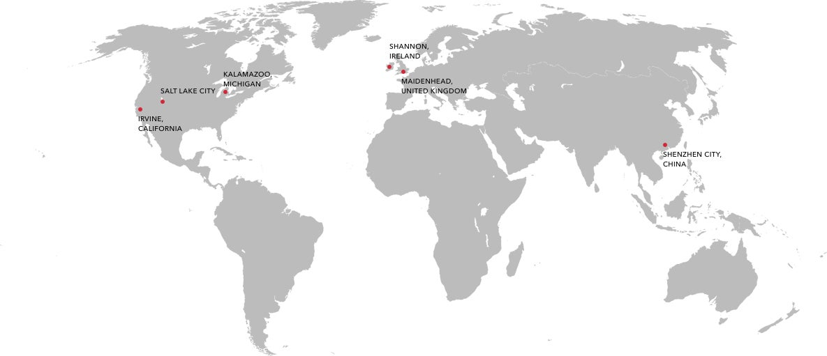 ZAGG Locations on a map
