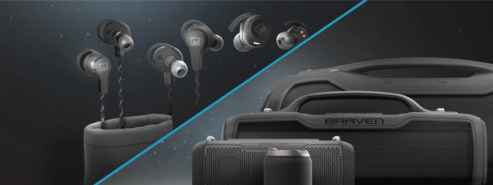 Flye Sport Earbuds and BRV Speakers