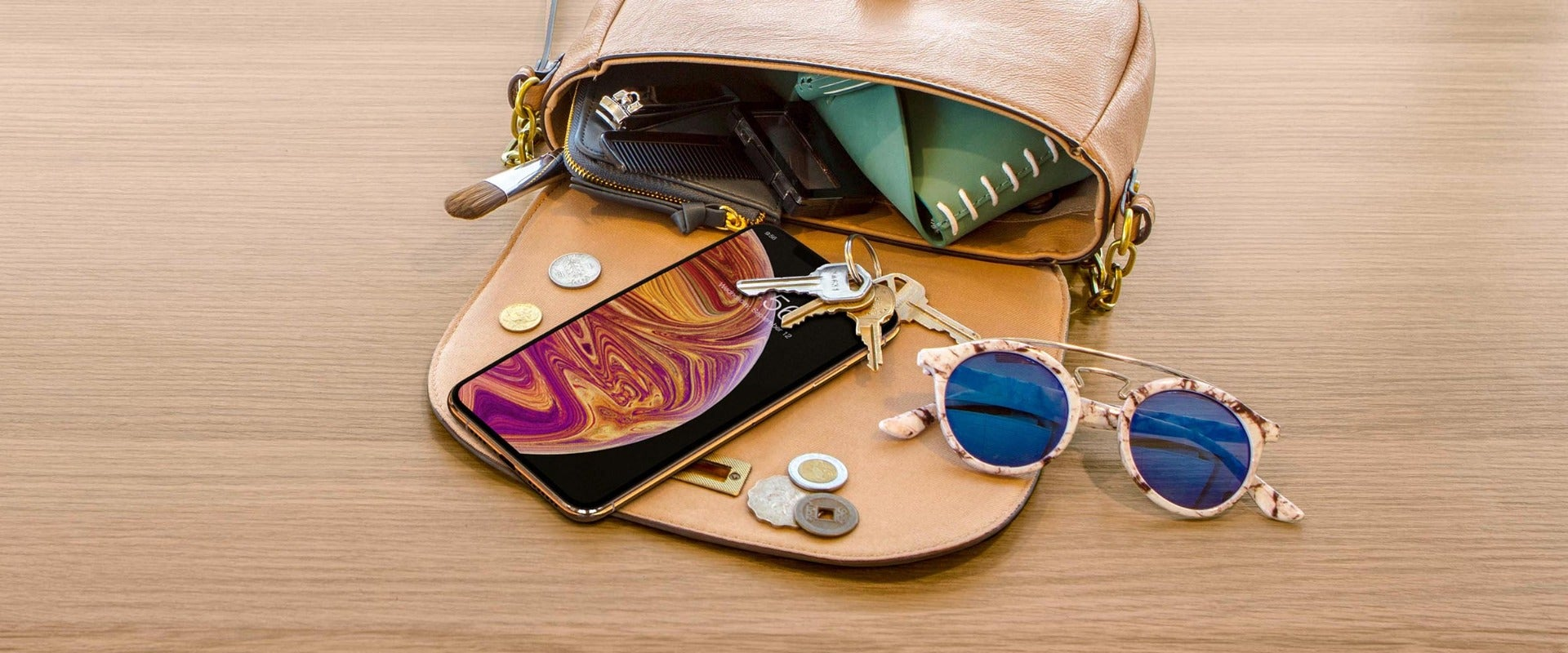 Purse with phone, keys, and change