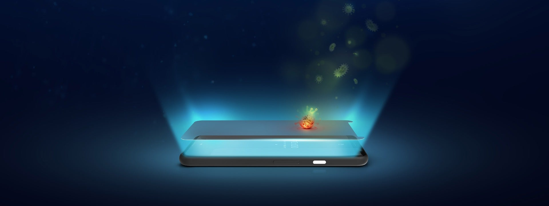 InvisibleShield screen protecting against blue light and bacteria